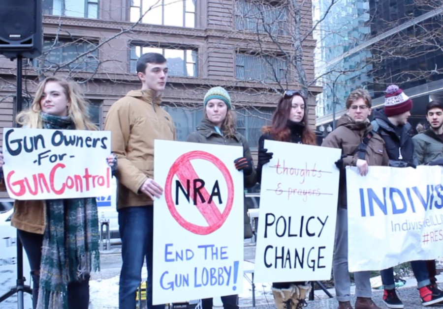 University of Chicago students advocate for gun reform at a rally downtown three days after the school shooting in Parkland, Florida.