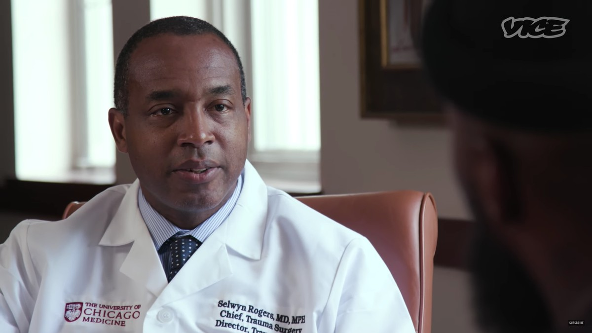 Trauma Director Selwyn Rogers is featured in a Vice segment about Ujimaa Medics, an organization that has been training young people to treat gunshot wounds on the street due, in part, to the lack of a trauma center on the South Side.