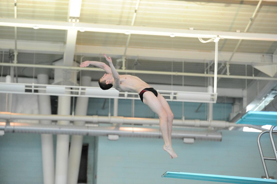 Fourth-year Dean Boures attempts his high-flying dive.