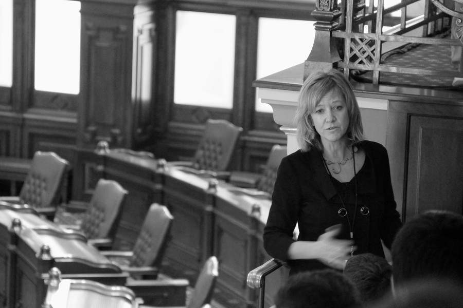Republican candidate for Illinois governor, Jeanne Ives, at the Illinois Statehouse.