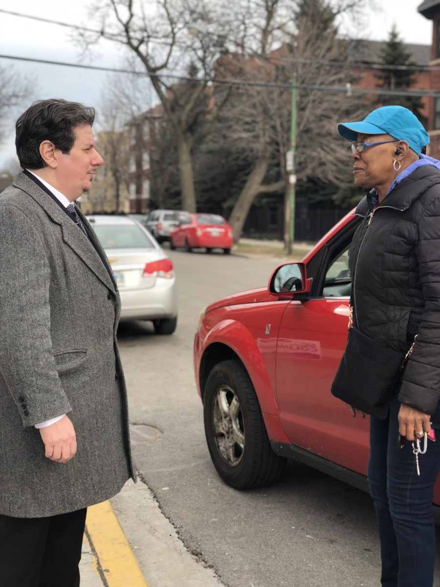"""Piemonte spoke to a constituent who described herself as """"The Queen of 71st Street,"""" a long time Fifth Ward resident who intends to vote for Piemonte because she is ready for change."""
