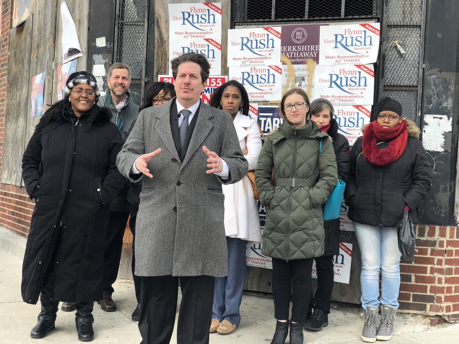 Gabriel Piemonte announces his candidacy for Fifth Ward Alderman at the corner of 71st Street and Merrill.