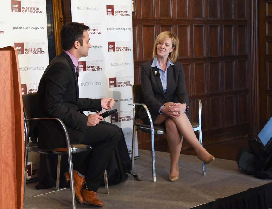 Jeanne Ives discusses her platform with WWTW correspondent Paris Schutz in Ida Noyes Library.