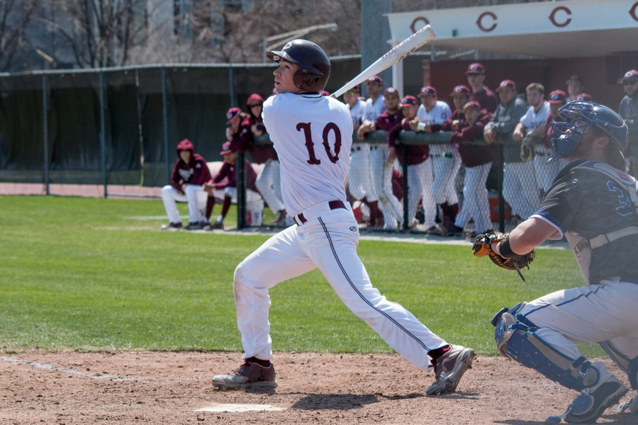 Third-year Connor Hickey taking a swing in a previous game.