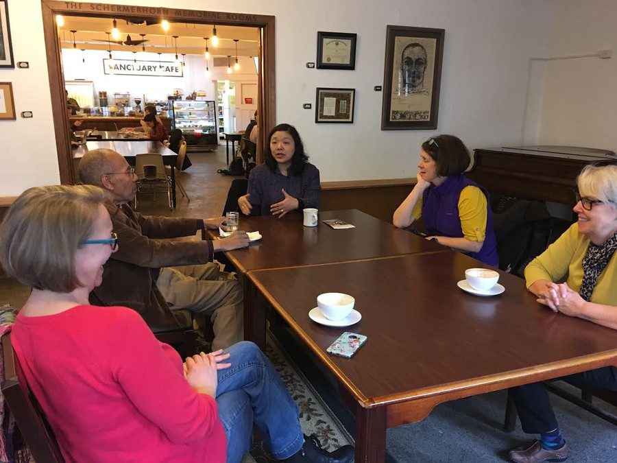 Grace Chan McKibben, a candidate for the 25th district house seat, conducts a meet-and-greet in Sanctuary Cafe.