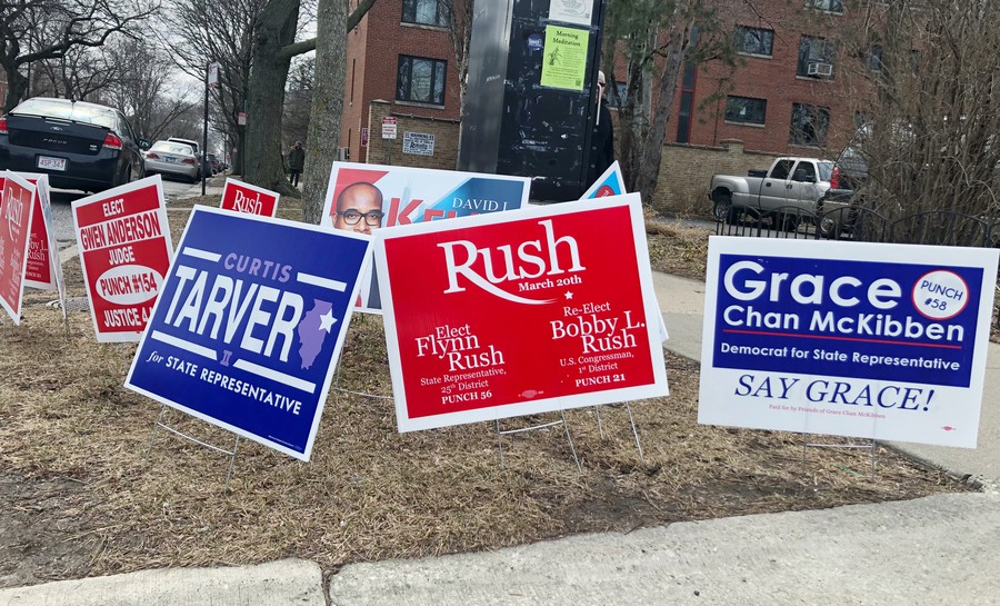 Signs for three of the leading candidates for 25th district state representative on a corner in Hyde Park.