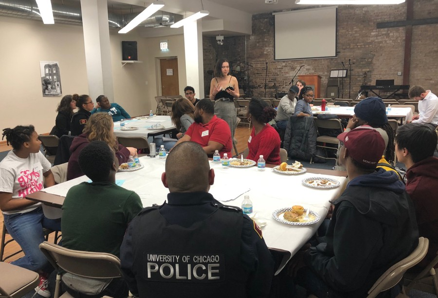 Attendees listen to a speaker at the Hope Works Dinner Dialogue event.