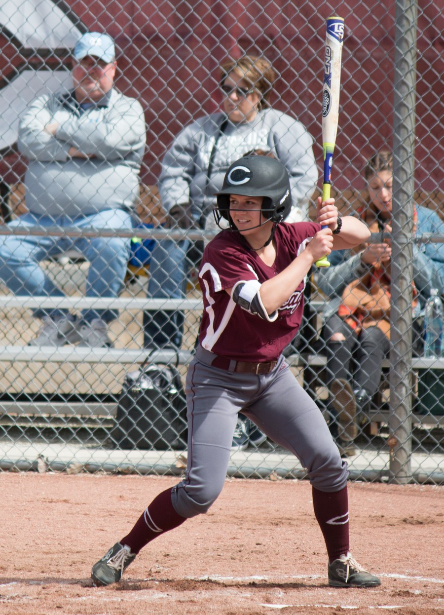 Second-year Christie Ambrose stares the pitcher down as she prepares to hit the ball.