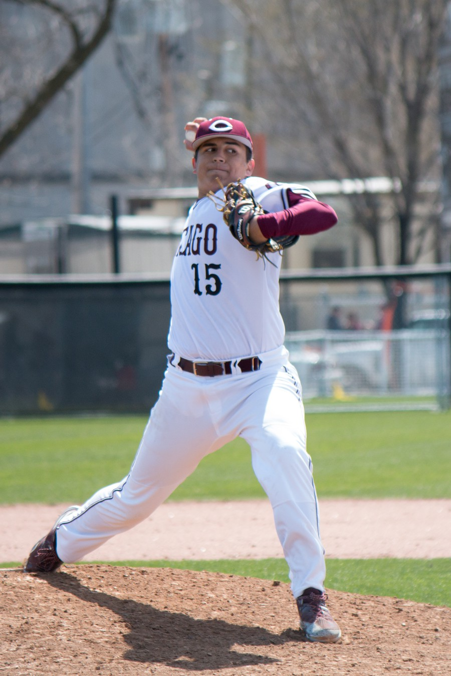 Third-year Brenton Villasenor concentrates as he prepares to pitch the ball.