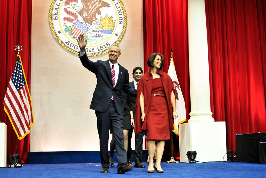Rauner, pictured here at his 2015 inauguration, recently vetoed legislation increasing regulations on firearm dealers.