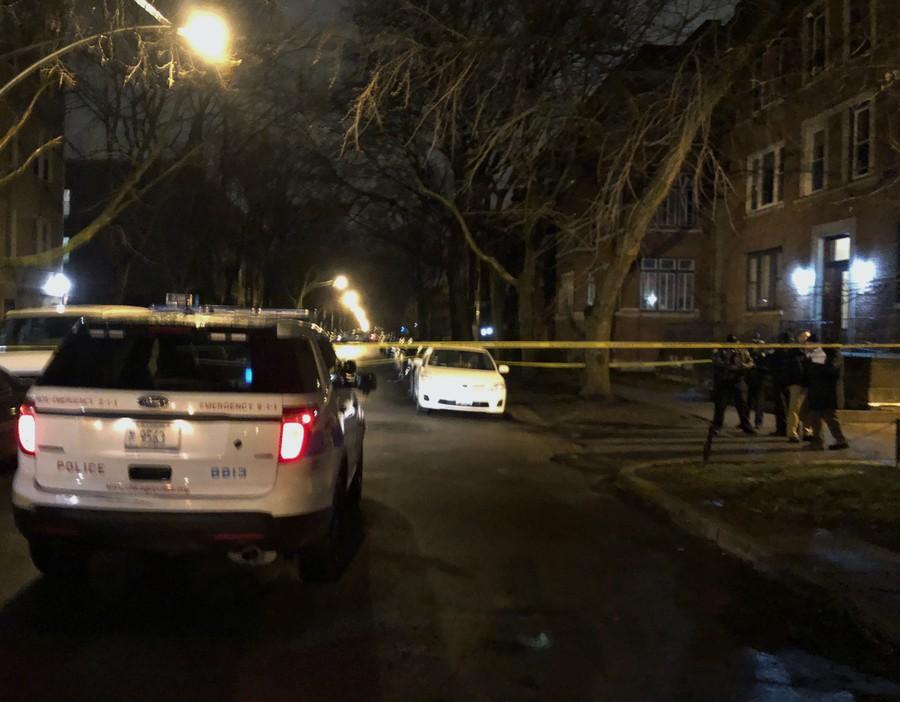 The scene at 12:30 a.m. on South Kimbark Avenue between 53rd Street and 54th Street after a shooting that CPD said involved multiple UCPD officers.