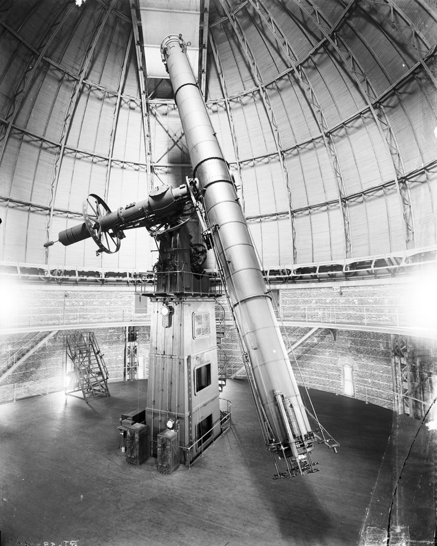 Yerkes Observatory's 40-inch refracting telescope inside the Observatory.