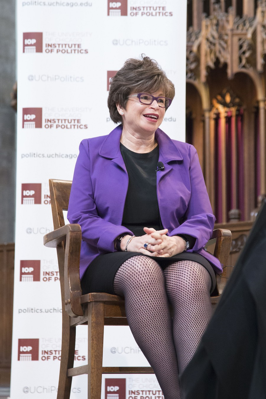 Former senior White House advisor and current Law School distinguished senior fellow Valerie Jarret speaks at an IOP event in Rockefeller Chapel.