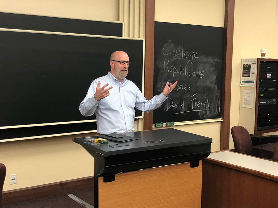 Conservative writer David French spoke last Thursday at a College Republicans meeting.