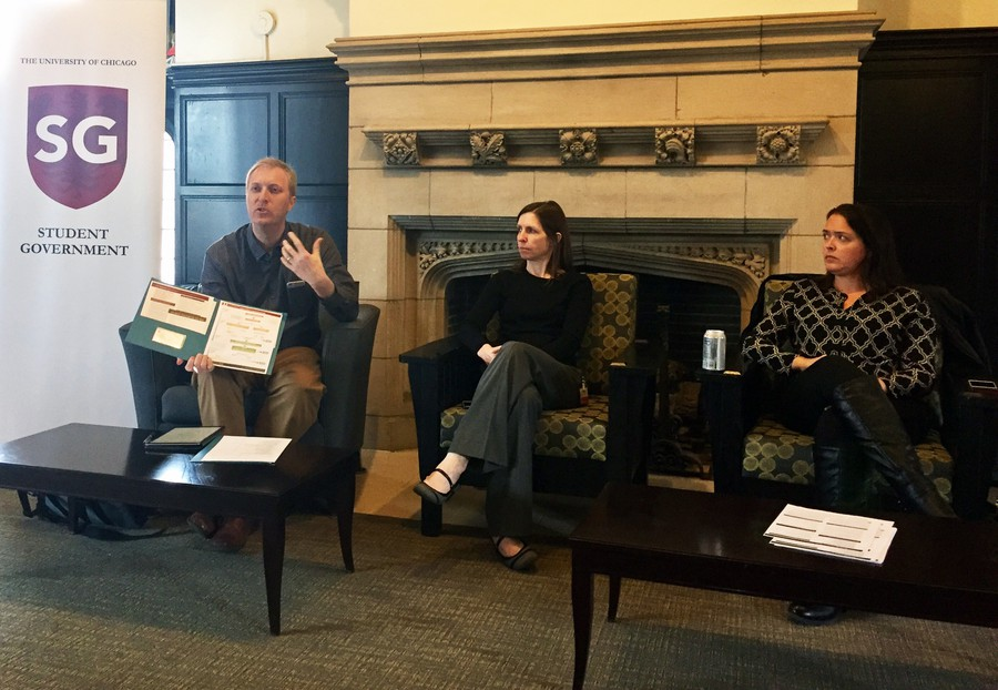 Associate Dean of Students Jeremy Inabinet (left), Disciplinary Committee Chair H. Barrett Fromme (center), and Title IX Coordinator Shea Wolfe (right) talk to students in South Lounge.