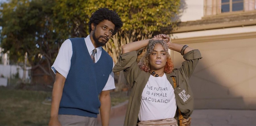 """Lakeith Stansfield (Cassius """"Cash"""" Green) and Tessa Thompson (Detroit) play an engaged couple in this satire on capitalist America"""