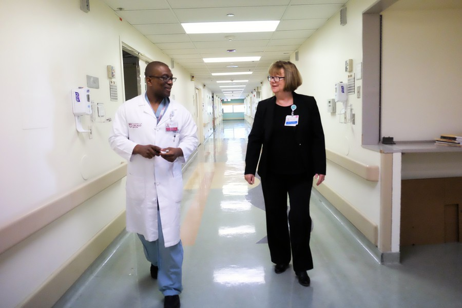 Debra Allen (right) is UChicago Medicine's clinical director of trauma, and Dr. Ken Wilson (left) is the deputy director of trauma.