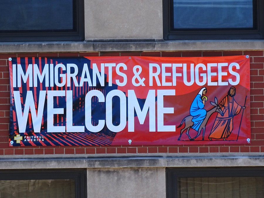 A banner welcoming immigrants and refugees seen in Chicago's Pilsen neighborhood. Undocumented people would be eligible for Mayor Rahm Emanuel's new CityKey ID Card, which is intended to make city services more easily accessible.