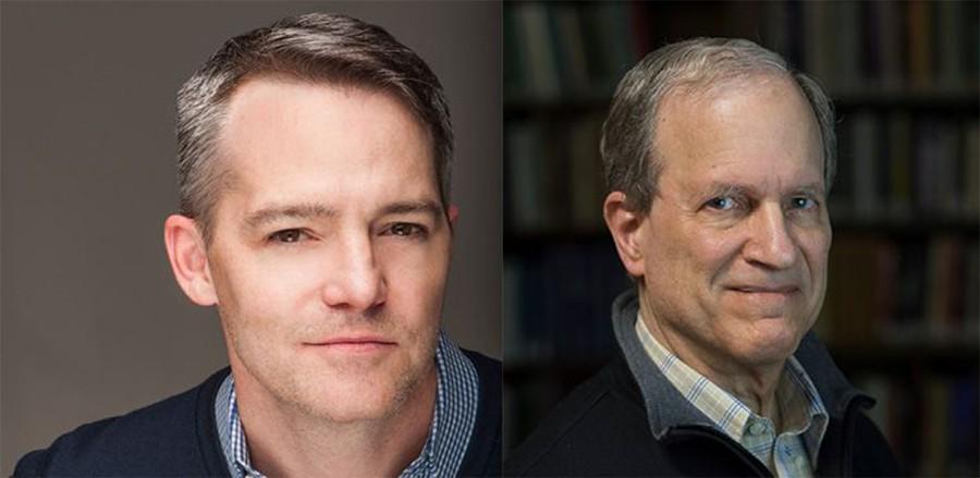 Professor Doyal Harper, right, won the Norman Maclean Faculty Award, while John McGinn (A.B. '90), left, will receive the 2018 Alumni Service Medal.