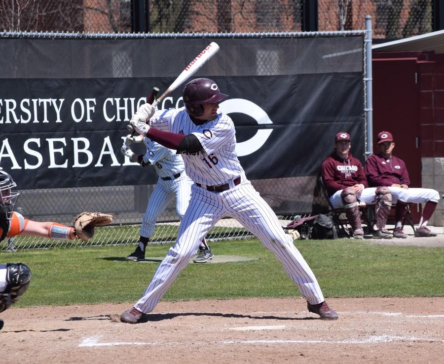 Third-year Brady Sarkon stares down the opposing pitcher.