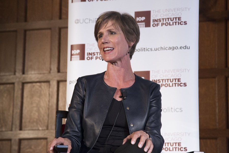Former Attorney General Sally Yates speaks at an IOP event.