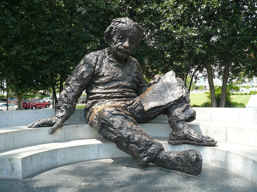 A massive Albert Einstein reclines outside the National Academy of Sciences in Washington, D.C.