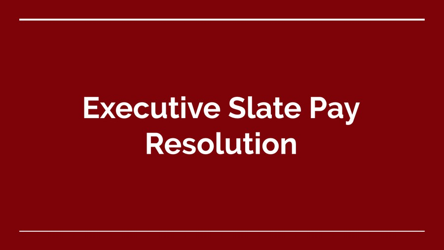 Student Government is considering a resolution for Executive Slate pay. Pictured: A slide from the Monday, May 14 meeting agenda.
