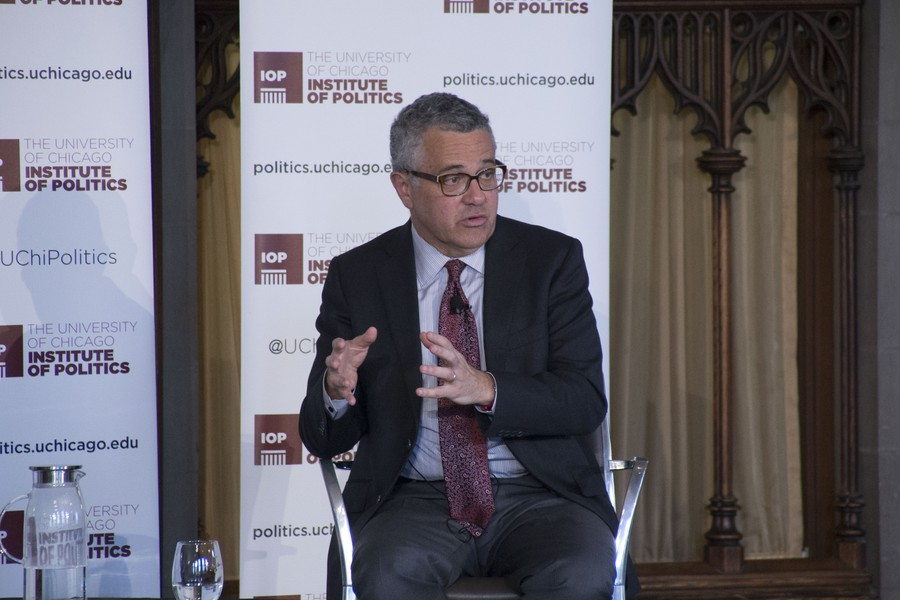 Jeffrey Toobin, New Yorker writer and CNN commentator, speaks at the Institute of Politics.