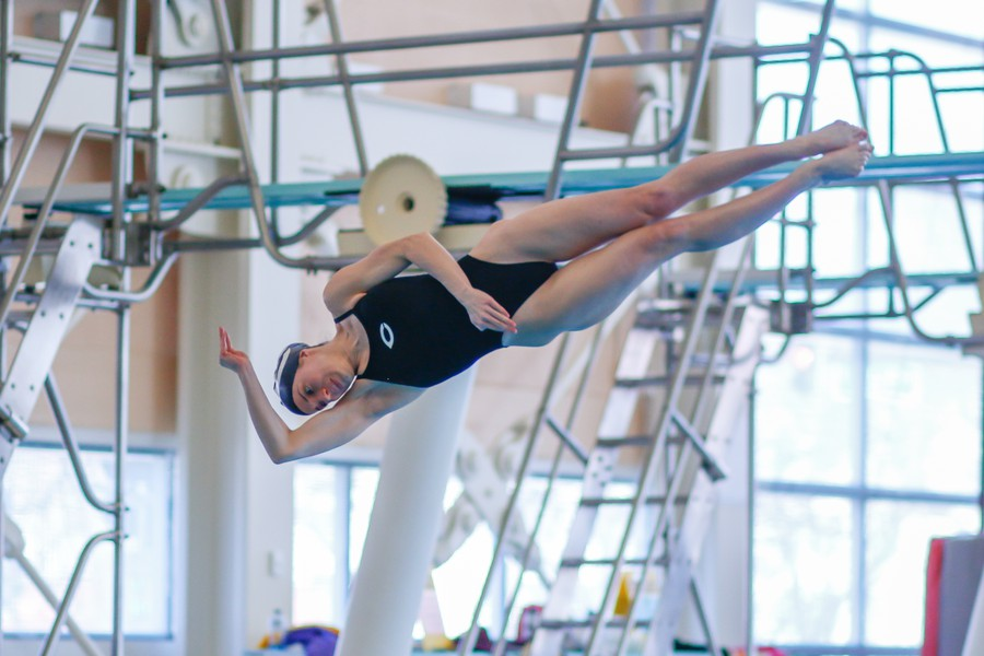 DeMuro competing at the diving regionals this past March.