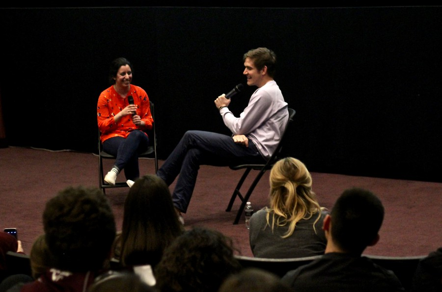 Fourth-year and former Doc Films president Hasti Soltani (left) leads a Q&A with Bo Burnham (right)