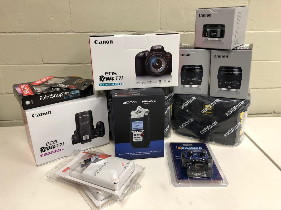The new equipment recently bought for our photo, video and podcast sections with a donation.