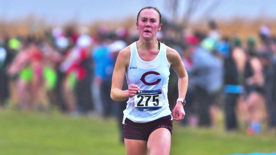 Fourth-year Khia Kurtenbach keeps her eye on the finish line as she sprints ahead of the rest of her competitors.