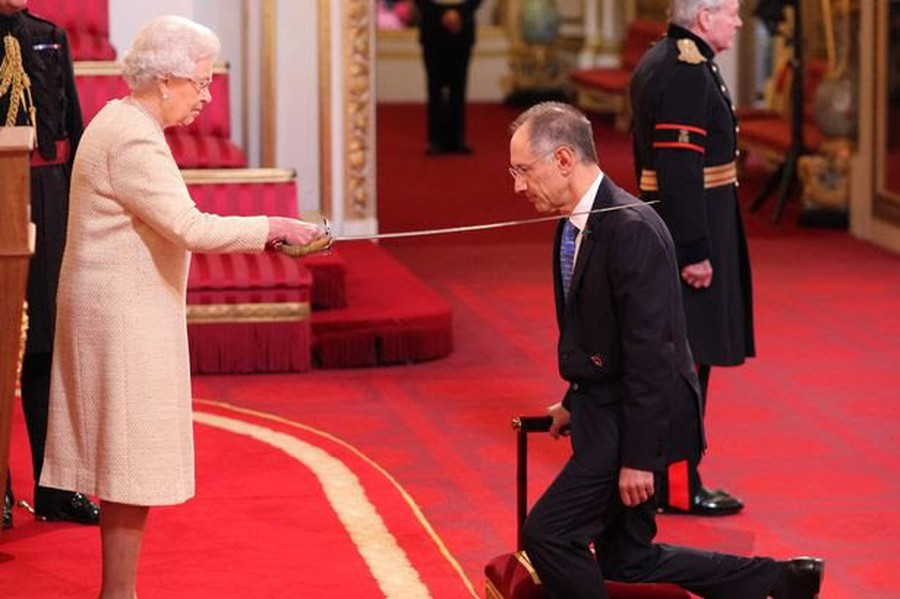 Michael Moritz, the donor who students are required to meet, was knighted at Buckingham Palace in 2013.
