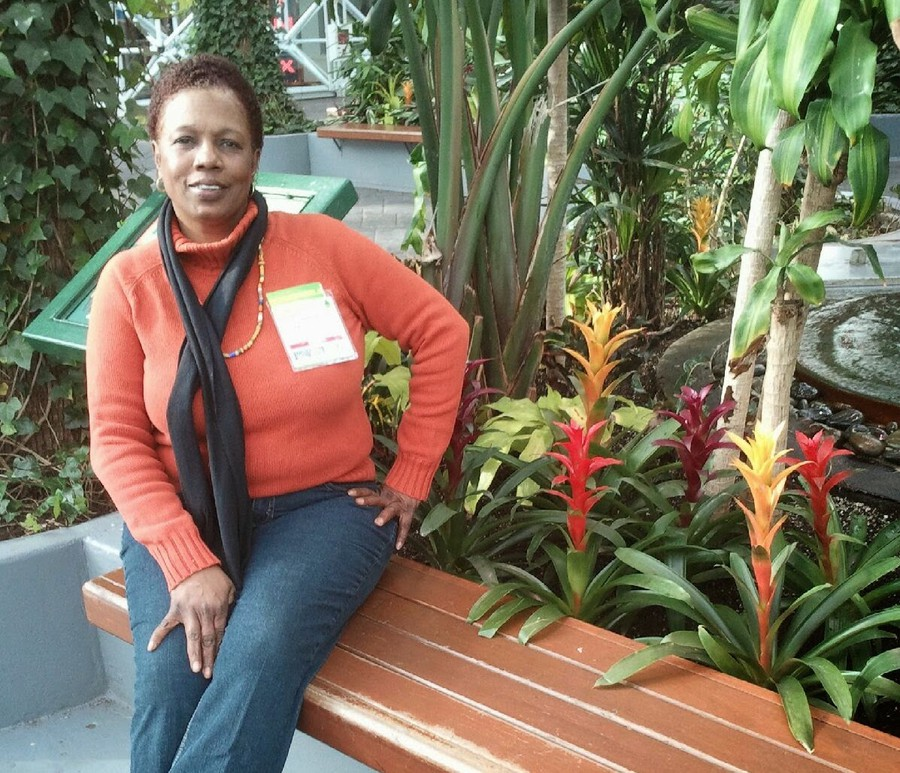 Pam Williams, a service crew mechanic at the University, visits the Navy Pier Botanical Garden.