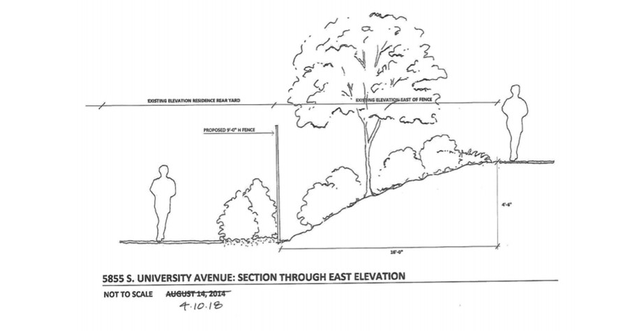 A Department of Planning and Development document shows the University's plans to increase the height of the fence around the President's house.