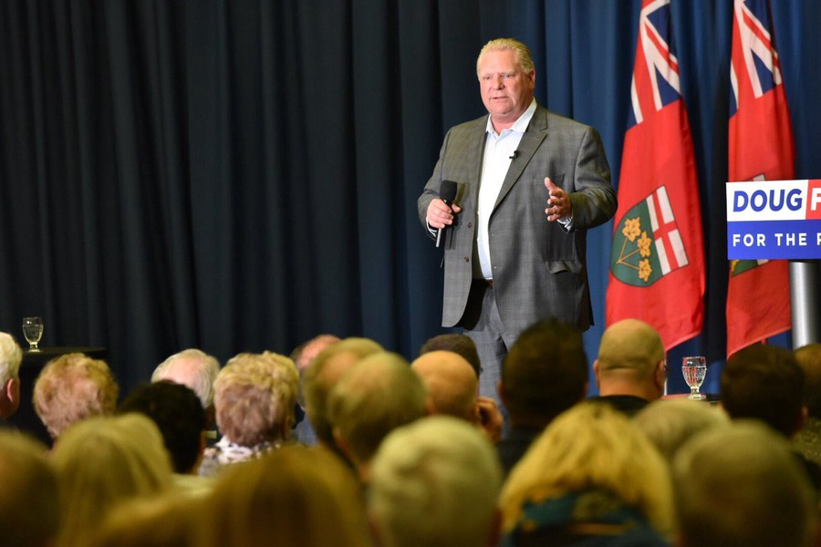 Doug Ford campaigning in Sudbury, Ontario on May 3, 2018.