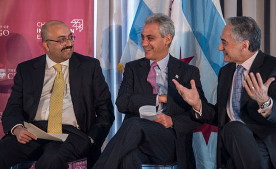 Mayor Rahm Emanuel (center) is pictured at an event with President Robert J. Zimmer (right).