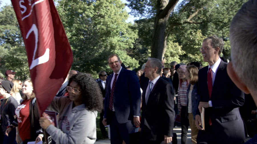 President Robert J. Zimmer, Dean of the College John Boyer, and Dean of Admissions James Nondorf walk during the bagpipe procession. Boyer confirmed the class size in a brief conversation with The Maroon after the procession.