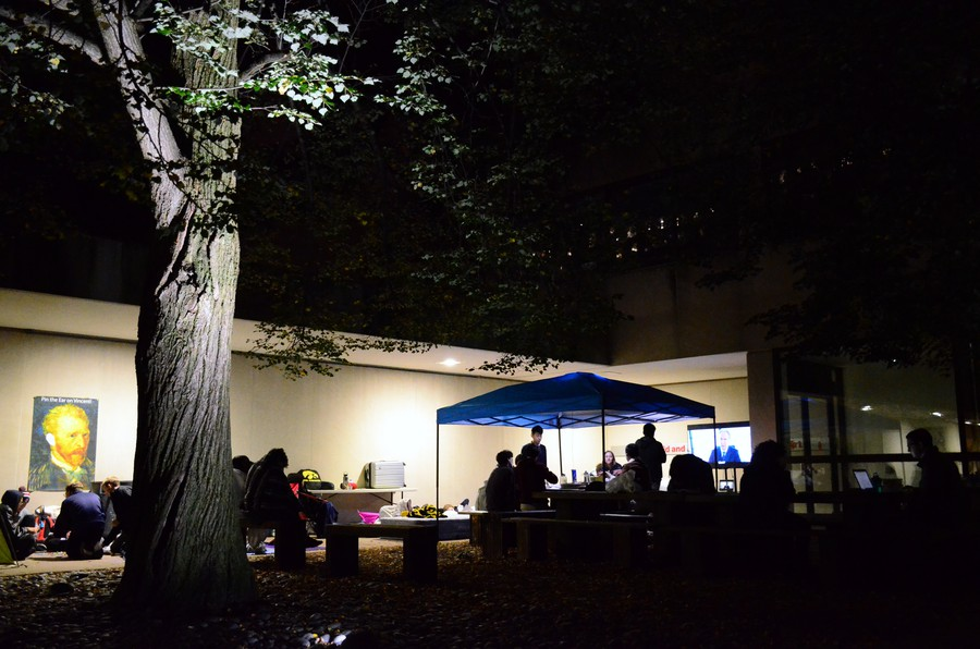 Students spend the night camping outside the Smart Museum to be first on line for the Art to Live with program