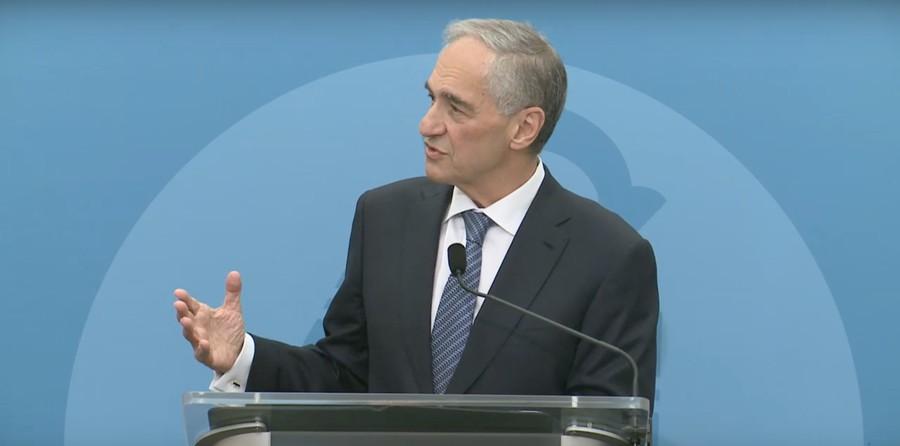 University President Robert Zimmer gives a speech on October 3.