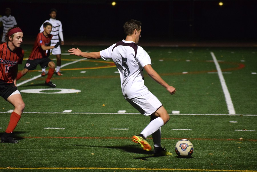 Second-year Isaiah Holquist looks to pass to a teammate.