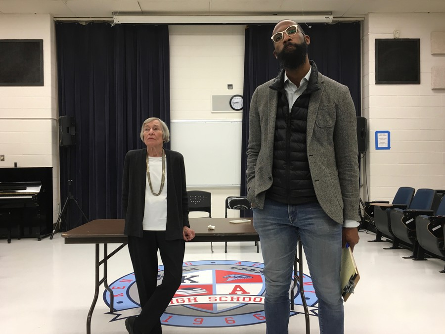 Barbara Flynn Currie and Curtis Tarver hosted a town hall meeting at Kenwood Academy.