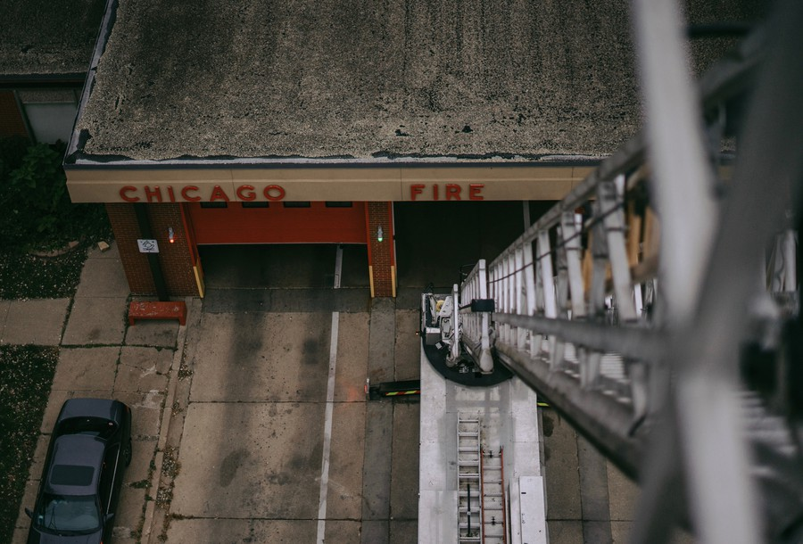 Chicago Fire Department from 100 feet in the air