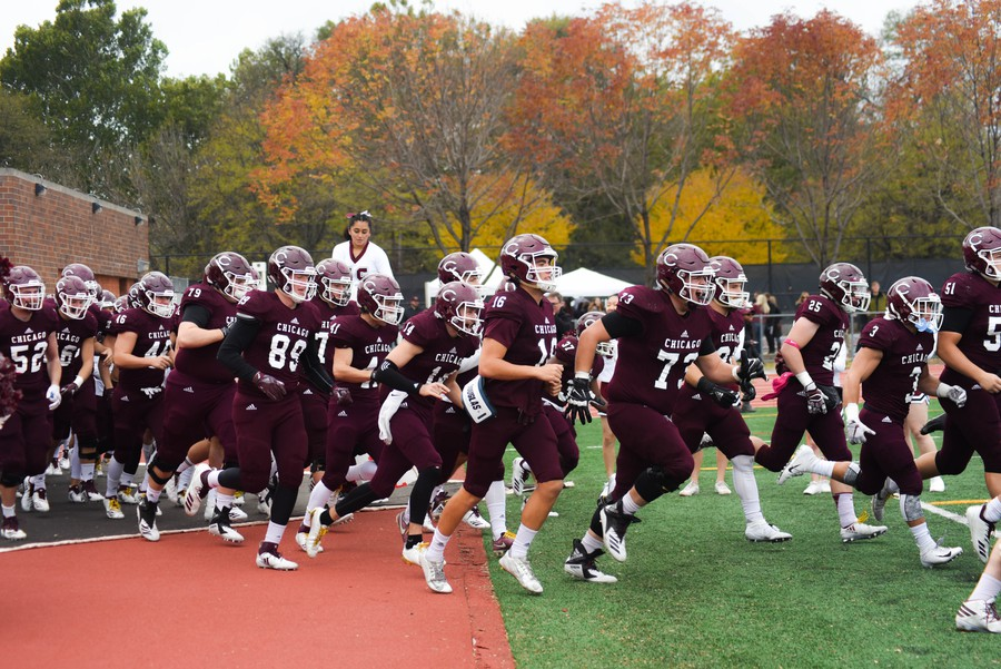 The football team takes the field on October 27 before a homecoming win over Ripon.