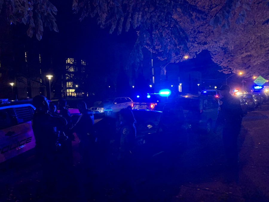A young man was arrested in front of the Regenstein Library at around 10:45 p.m. Police on scene said that he was chased on foot and suspected of committing a robbery. It is unclear if he was linked to the battery of a student nearby.