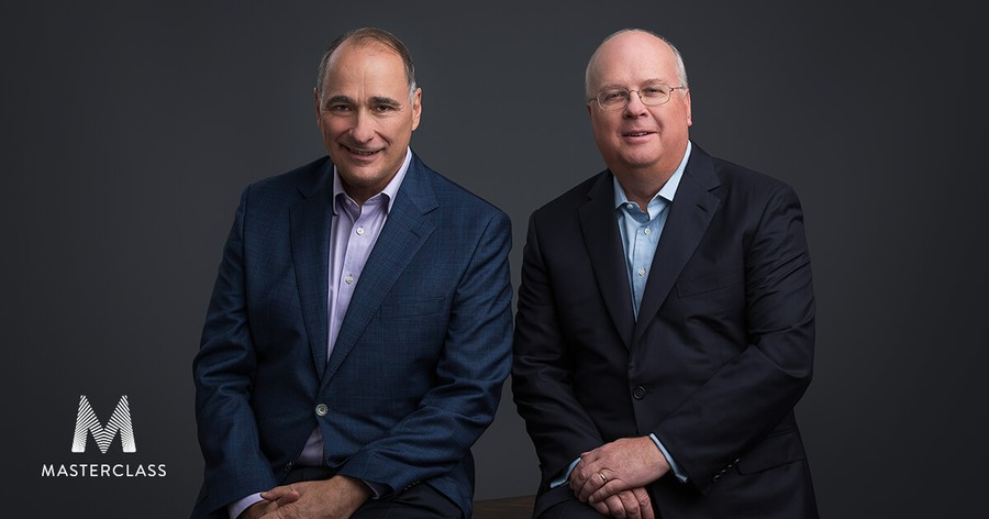 """David Axelrod and Karl Rove team up to teach a MasterClass on """"Campaign Strategy and Messaging."""""""