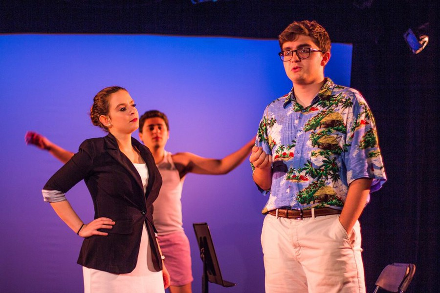 "(right to left) Aliza Oppenheim, Cyrus Pacht and Leo Alvarez in ""The Sandbox"" by Edward Albee, directed by Kendall Phillips"