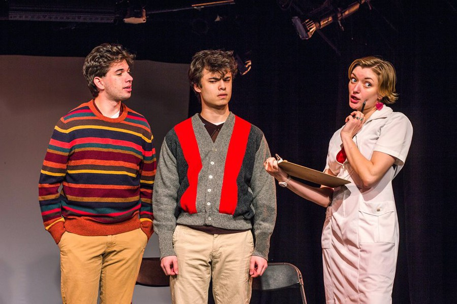 """(right to left)  Gabriel Rourke, Emil Sohlberg and Matilda Kupfer in """"The Hardy Boys & The Mystery Of Where Babies Come From"""" by Christopher Durang, directed by Afriti Bankwalla"""
