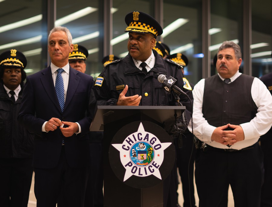 Superintendent Eddie Johnson speaks at a press conference at the University of Chicago on Monday.