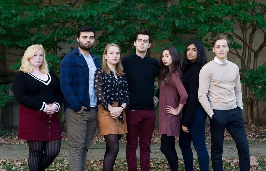 The performers were  (right to left): Ella Frederickson, Matthew Bonanno, Erika Steiner, Gideon McCarty, Alisa Boland, Priya Gandhi, and Ethan MacCumber.